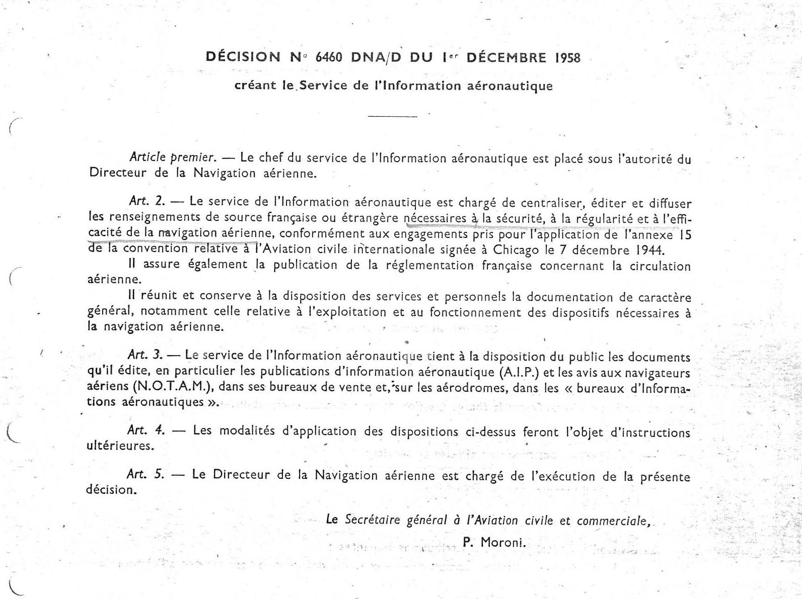 Décision n 6460 DNA D du 01 décembre 1958 Créant le Service de l'Information aéronautique